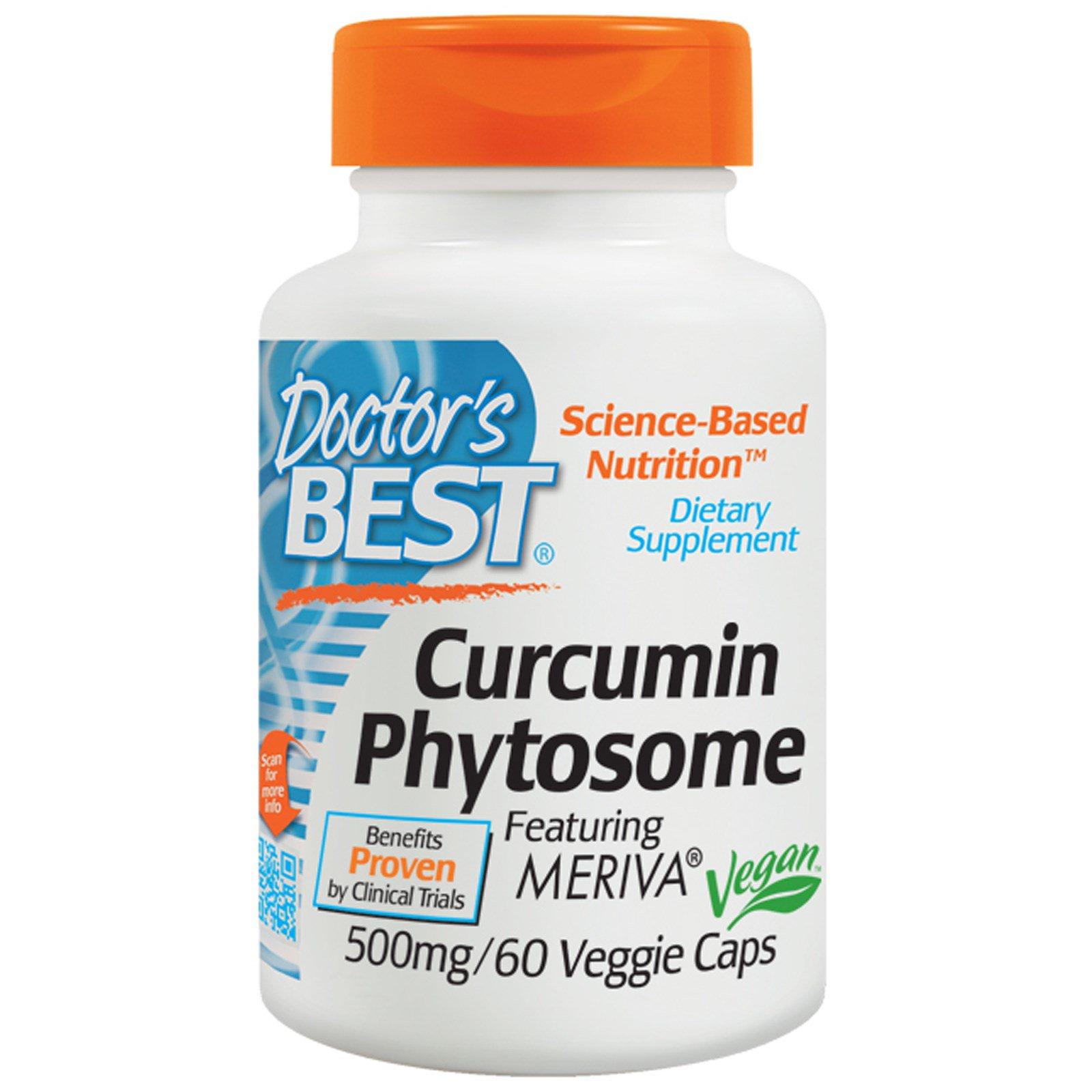 Doctor's Best, Фитосомный кукрумин, Featuring Meriva, 500 мг, 60 вегетарианских капсул