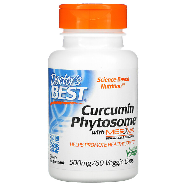 Doctor's Best, Phytosome, куркумин с Meriva, 500 мг, 60 вегетарианских капсул
