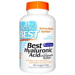 Doctor's Best, ベストヒアルロン酸、コンドロイチン硫酸配合、ベジキャップ180錠