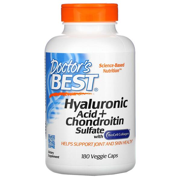 Doctor's Best, гиалуроновая кислота и сульфат хондроитина, 180вегетарианских капсул