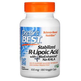 Doctor's Best, стабилизированная R-липоевая кислота с BioEnhanced Na-RALA, 100мг, 180вегетарианских капсул