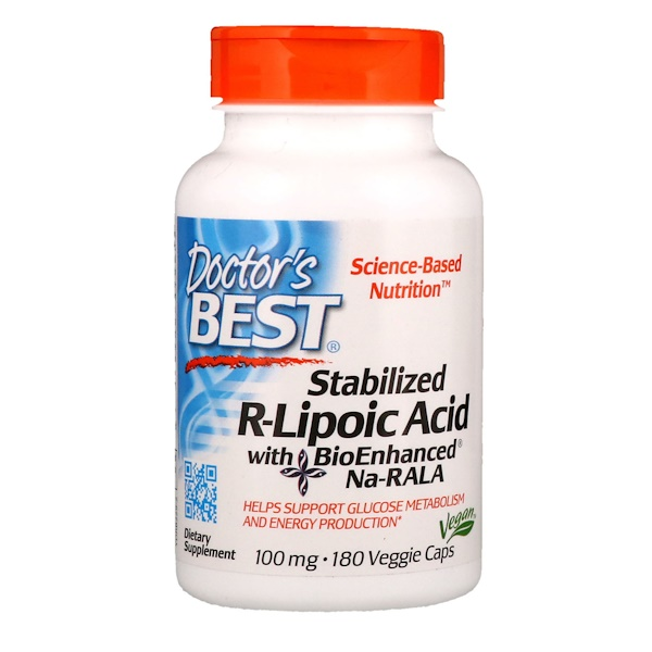 Doctor's Best, Stabilized R-Lipoic Acid with BioEnhanced Na-RALA, 100 mg, 180 Veggie Caps
