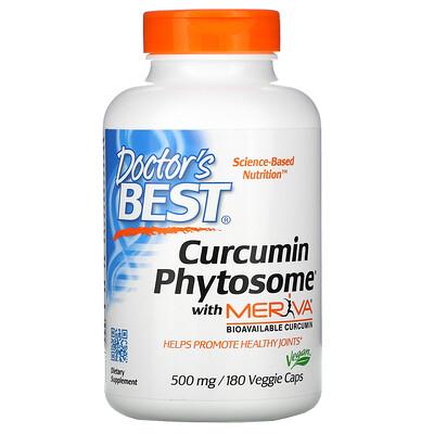 Doctors Best Phytosome, куркумин с Meriva, 500мг, 180вегетарианских капсул