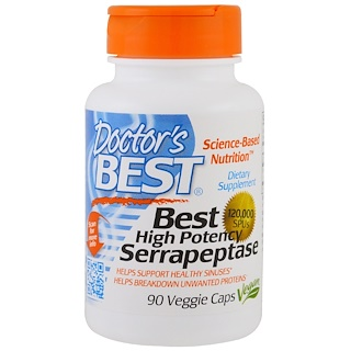 Doctor's Best, 強力セラペプターゼ、120,000 SPU、90植物性カプセル