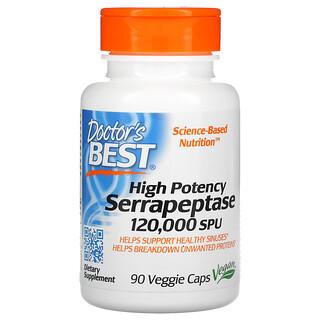 Doctor's Best, 优效舍雷肽酶,120000 SPU,90 粒素食胶囊