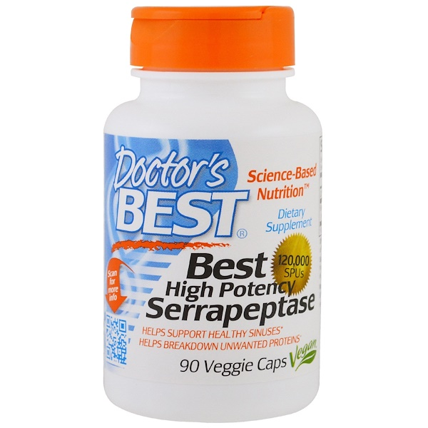 Doctor's Best, High Potency Serrapeptase, 120,000 SPU, 90 Veggie Caps