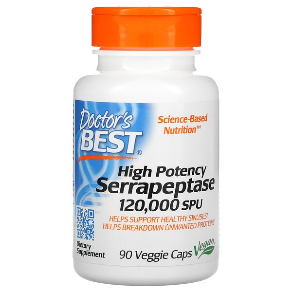 High Potency Serrapeptase, 120,000 SPU, 90 Veggie Caps