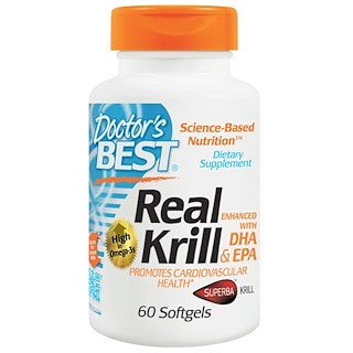 Doctor's Best, Real Krill, Enhanced with DHA & EPA, 60 Softgels