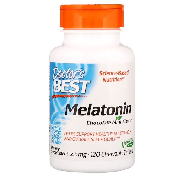 Doctor's Best, Melatonin, Chocolate Mint Flavor, 2.5 mg, 120 Chewable Tablets (Discontinued Item)