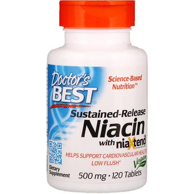 Ниацин замедленного высвобождения с niaXtend, 500 мг, 120 таблеток