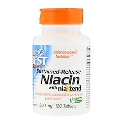 Doctor's Best, Sustained-Release Niacin with niaXtend, 500 mg, 120 Tablets