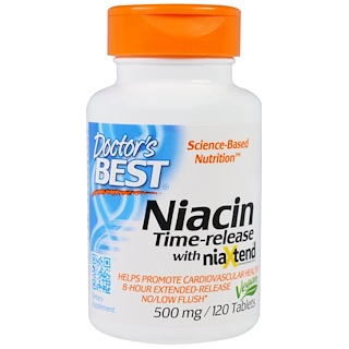 Doctor's Best, Niacin, Time-Released With Niaxtend, 500 mg, 120 Tablets