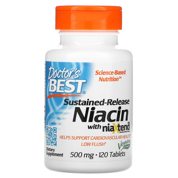 Sustained-Release Niacin with niaXtend, 500 mg, 120 Tablets