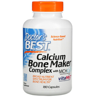 Doctor's Best, Calcium Bone Maker Complex with MCHCal and VitaMK7, 180 Capsules
