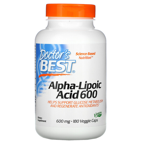 Doctor's Best, Alpha-Lipoic Acid 600, 600 mg, 180 Veggie Caps