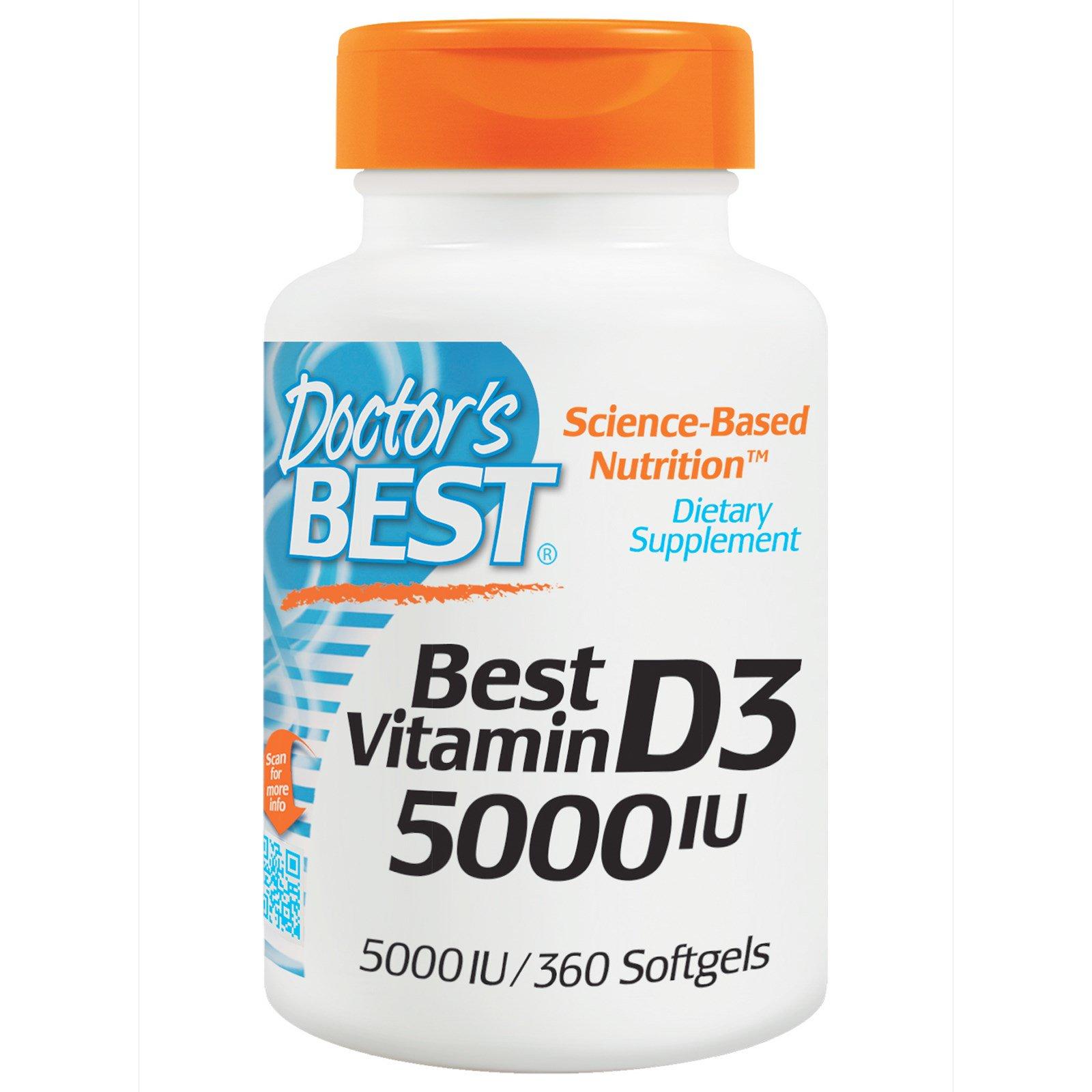 Doctor's Best, Витамин D3, 5000 МЕ, 360 мягких капсул
