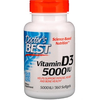 Doctor's Best, Vitamina D3, 5.000 UI, 360 cápsulas softgel