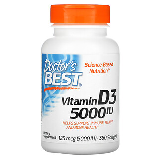 Doctor's Best, Vitamin D3, 125 mcg (5,000 IU), 360 Softgels