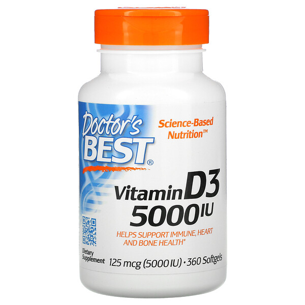 Doctor's Best, Vitamin D3, 125 mcg (5000 IU), 360 Softgels