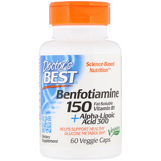 Doctor's Best, Benfotiamina 150 + Ácido Alfa-lipoico 300 com BenfoPure, 60 Cápsulas Vegetais
