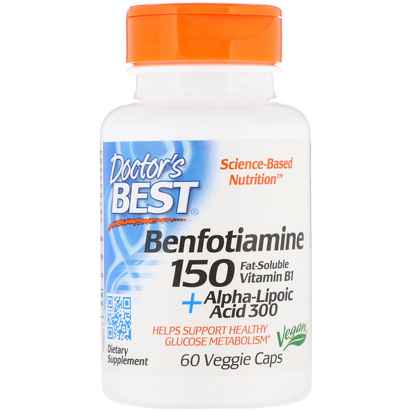Doctor's Best, Benfotiamine 150 + Alpha-Lipoic Acid 300 with BenfoPure, 60 Veggie Caps