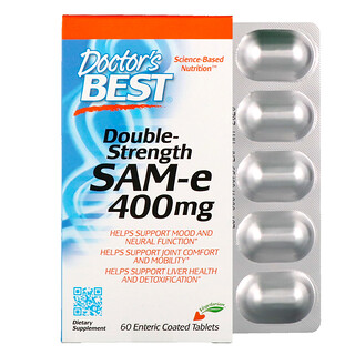 Doctor's Best, SAM-e, Double-Strength, 400 mg, 60 Enteric Coated Tablets