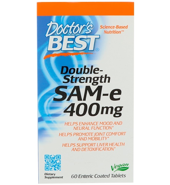 Doctor's Best, SAM-e (S-Adenosyl Methionine), Double Strength, 400 mg, 60 Enteric Coated Tablets