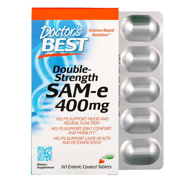 SAM-e, Double-Strength, 400 mg, 60 Enteric Coated Tablets