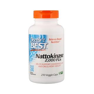 Doctor's Best, Наттокиназа, 2000 фибринолитических единиц (FU), 270 вегакапсул