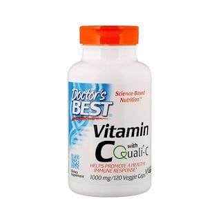 Doctor's Best, Quali-C配合ビタミンC、1000 mg、120野菜カプセル