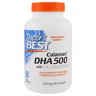 Doctor's Best, DHA 500, from Calamari, 500 mg, 180 Softgels