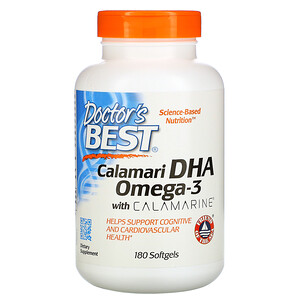 Докторс Бэст, Calamari DHA Omega-3 with Calamarine, 180 Softgels отзывы покупателей