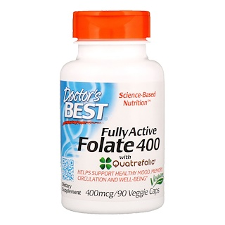 Doctor's Best, Fully Active Folate 400 with Quatrefolic, 400 mcg, 90 capsules végétales