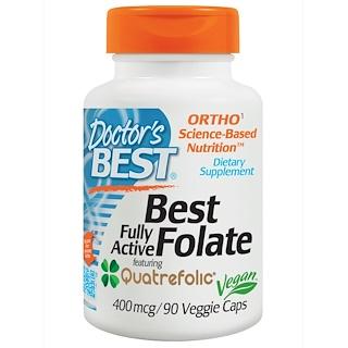 Doctor's Best, Полностю активный фолат 400 с кватрофоликом, 400 мкг, 90 капсул в оболочке растительного происхождения