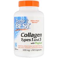 Коллаген, тип 1 и 3, с пептаном, 500 мг, 240 капсул - фото