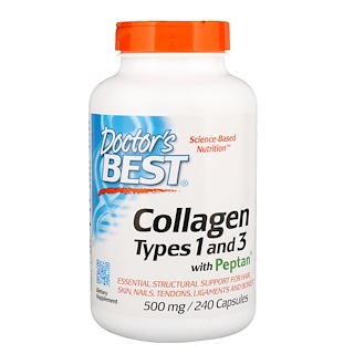 Doctor's Best, Collagen, Types 1 and 3 with Peptan, 500 mg, 240 Capsules