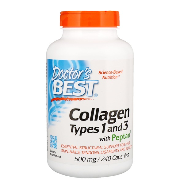 Doctor's Best, Коллаген, тип 1 и 3, с пептаном, 500 мг, 240 капсул