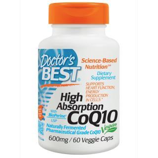 Doctor's Best, 超吸収 CoQ10, バイオペリン配合, 600 mg, 60 ベジカプセル