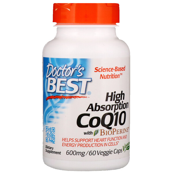 Doctor's Best, High Absorption CoQ10 with BioPerine, 600 mg, 60 Veggie Caps