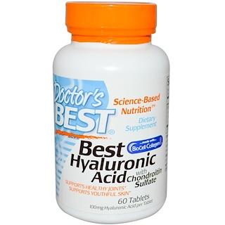 Doctor's Best, コンドロイチン硫酸付きのベストヒヤルロン酸、60錠