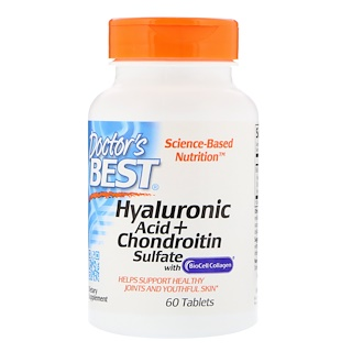 Doctor's Best, Best Hyaluronic Acid with Chondroitin Sulfate with BioCell Collagen, 60 Tablets
