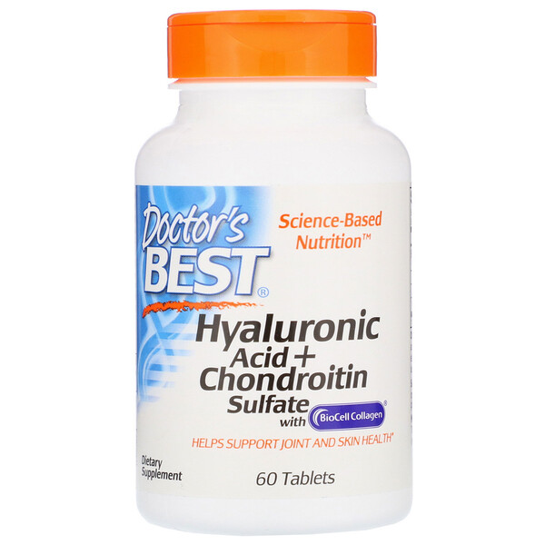 Doctor's Best, Hyaluronic Acid + Chondroitin Sulfate with BioCell Collagen, 60 Tablets