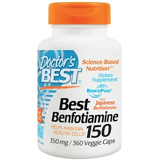 Doctor's Best, ベストベンフォチアミン150, 150 mg, 360ベジカプセル