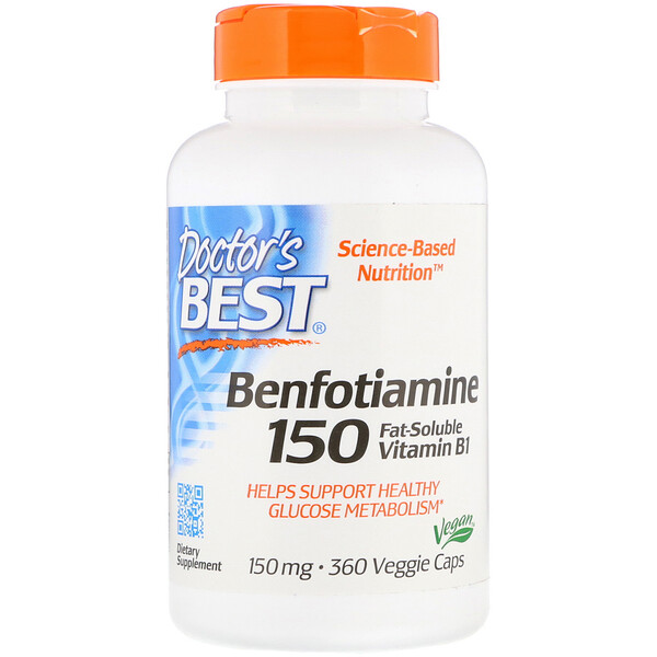 Doctor's Best, Benfotiamine, 150 mg, 360 Veggie Caps