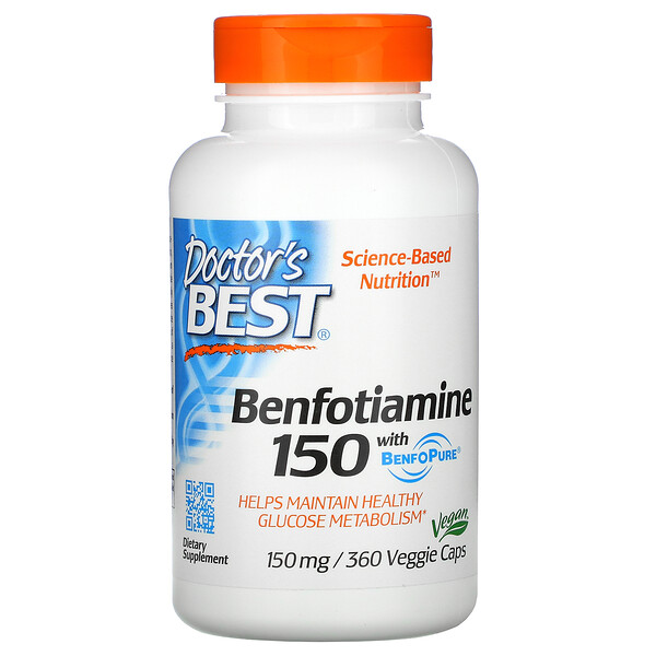 Doctor's Best, Benfotiamine with BenfoPure, 150 mg, 360 Veggie Caps