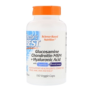 Doctor's Best, Glucosamine Chondroitin MSM + Hyaluronic Acid, 150 Capsules