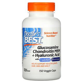 Doctor's Best, глюкозамин, хондроитин и МСМ с гиалуроновой кислотой, 150вегетарианских капсул