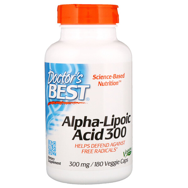Doctor's Best, Alpha-Lipoic Acid، 300 مجم، 180 كبسولة نباتية