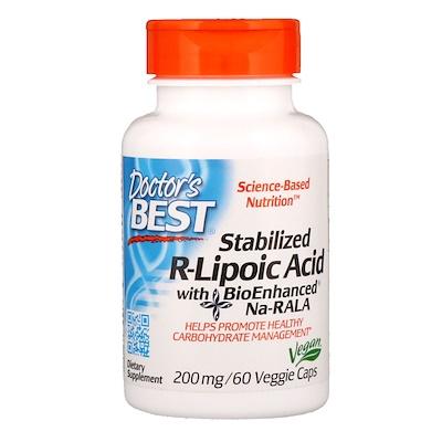 Купить Стабилизированная R-липоевая кислота с биоусиленной Na-RALA, 200 мг, 60 вегетарианских капсул