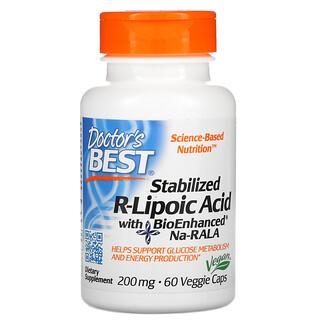 Doctor's Best, стабилизированная R-липоевая кислота с BioEnhanced Na-RALA, 200мг, 60вегетарианских капсул